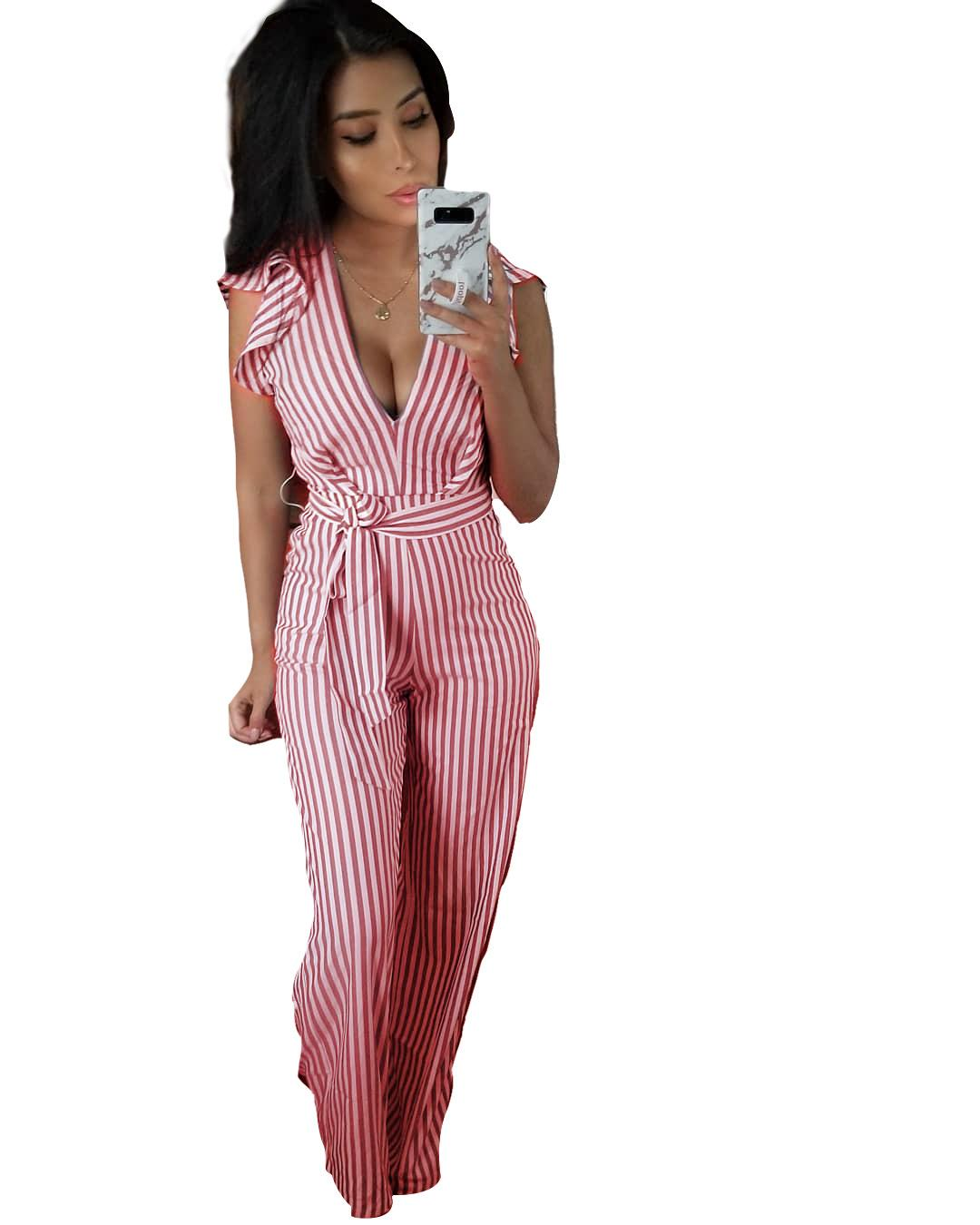 b78d1bae71da 2019 Women V Neck Striped Jumpsuit Ruffle Sleeves Backless Long Pants Romper  Outfits With Belt Q101 From Boom1994