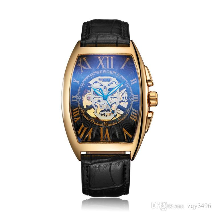 6b78cb79674f Compre Sewor Tonneau Tourbillon Reloj Mecánico Automático Para Hombres Banda  De Cuero Simple Relojes Para Hombre Reloj De Pulsera De Negocios Mans Reloj  ...