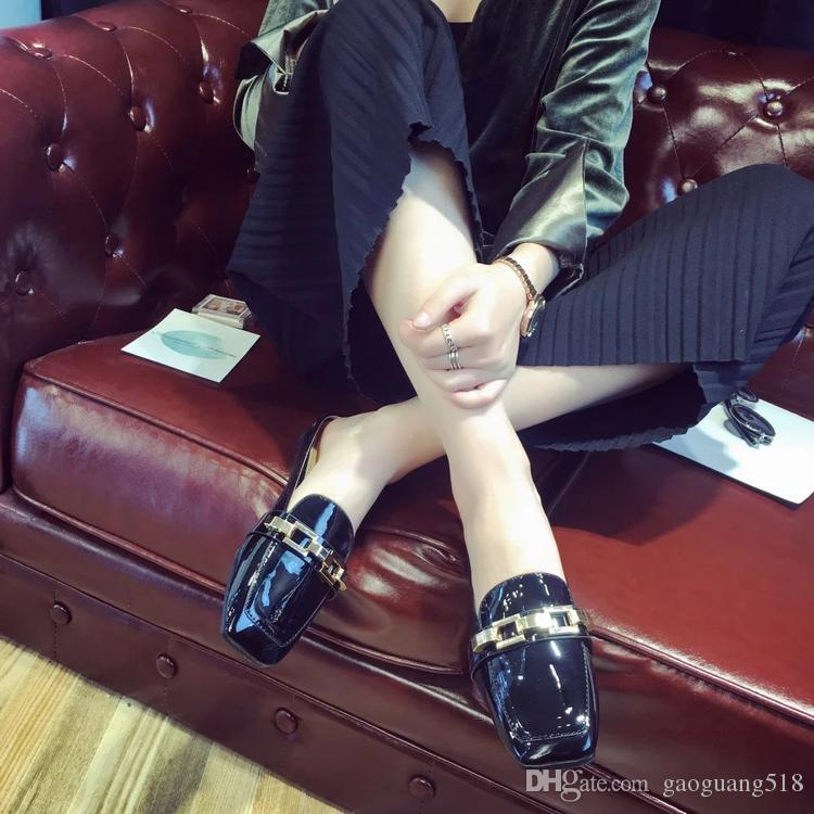 2018 new patent leather buckle lazy single shoes