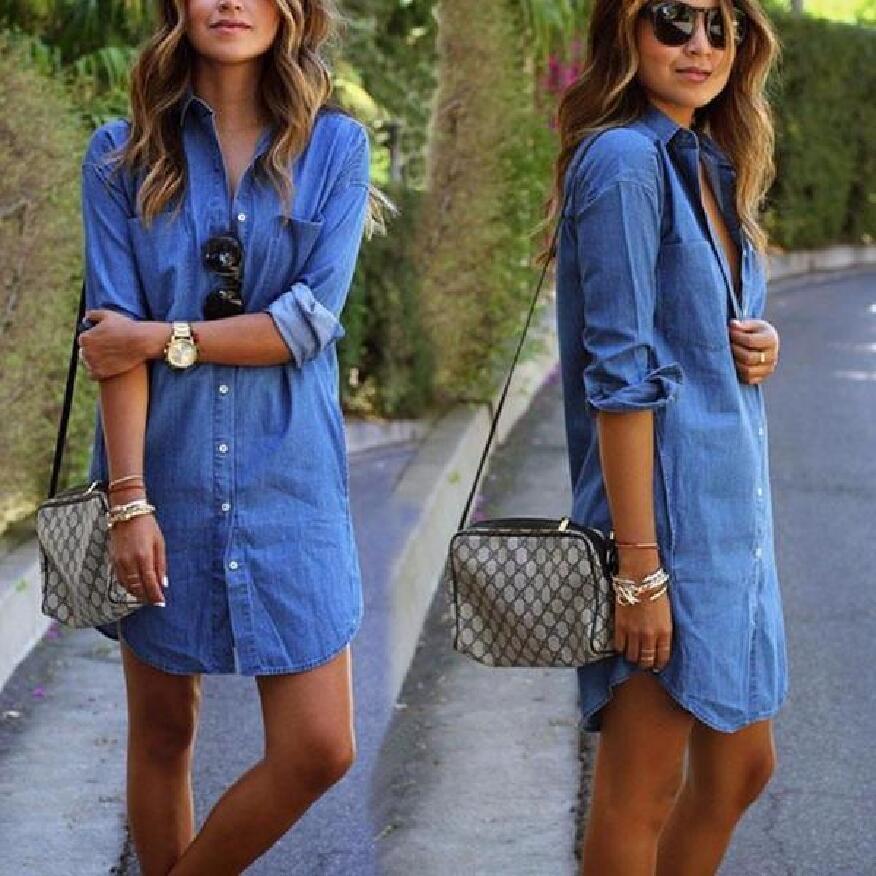 73eac6678 Compre Mulheres Casuais Denim Vestidos Bolsos Elegantes Cowboy Moda  Feminina Feminino Cardigan Magro Camisa Vestido Jeans De Huiwu