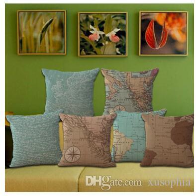 Mappa del mondo stile mediterraneo stampato cotone lino federa copertura del divano divano auto cuscino sham poltrona soggiorno camera da letto sala studio