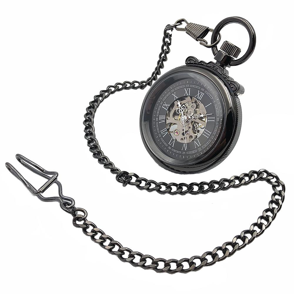 9f6b47ae4 CAIFU Brand Skeleton Steampunk Open Face Black Case Roman Number Dial Mens  Wind Up Mechanical Pocket Watch W/Chain Nice Gift Old Pocket Watches Old  Pocket ...