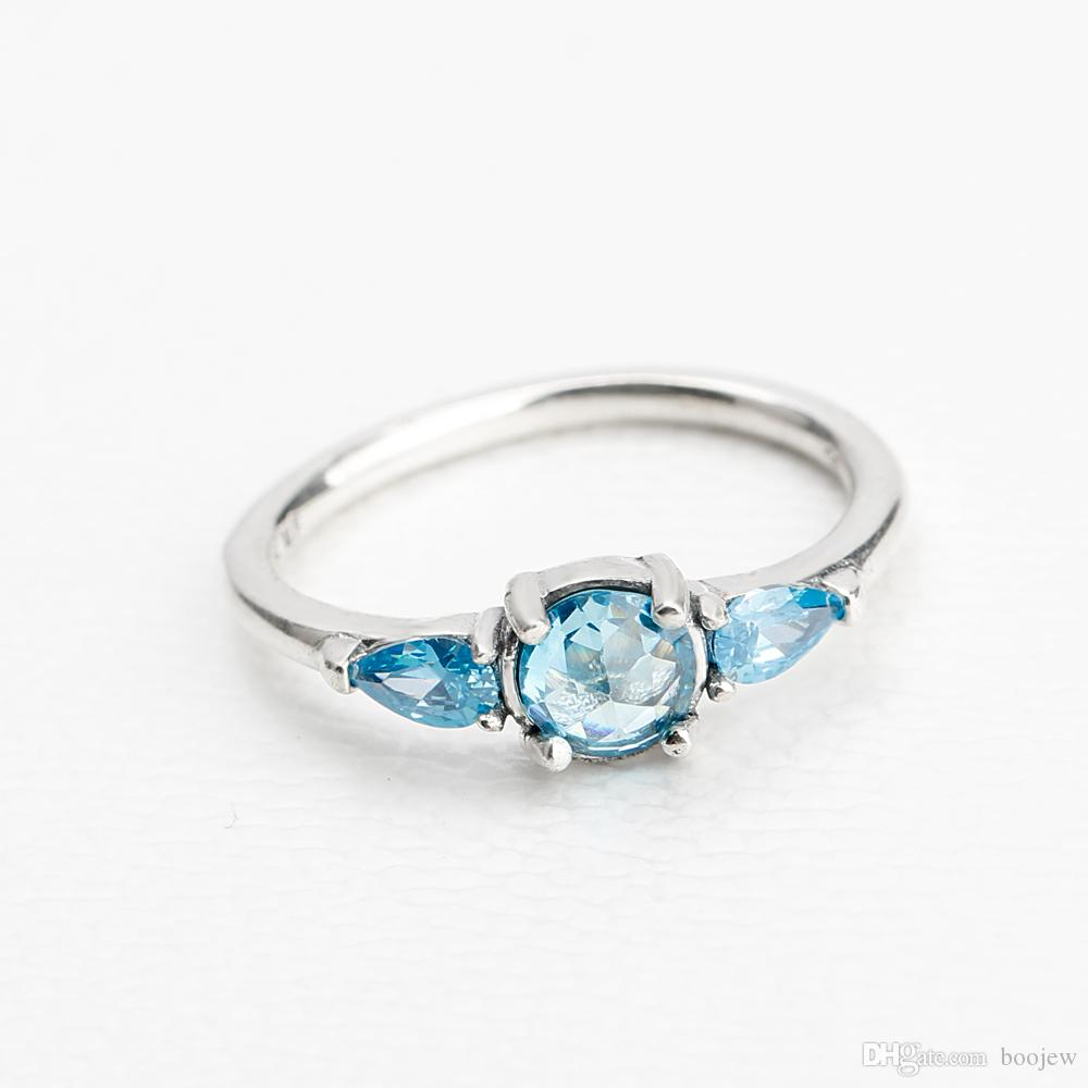 High Quality 925 Sterling Silver Alluring Blue Crystal Cubic Zircon Finger Ring for Women Find Jewelry