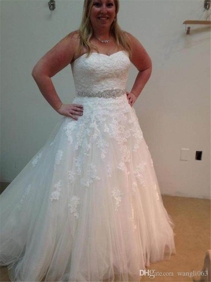 Beaded Lace Plus Size Wedding Dresses Sweetheart Ivory Tulle Crystal A Line Corset Bridal Gowns