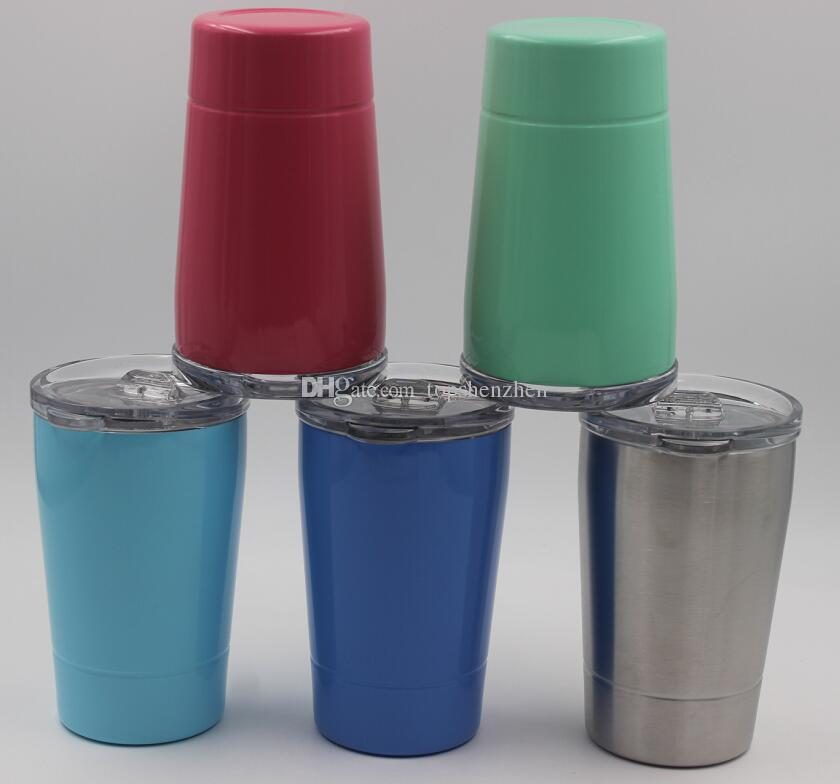 5 renkler 12 oz Çocuk Süt Bardaklar 12 oz mini bardak Vakum Yalıtımlı Bira Kupalar Paslanmaz Çelik Şarap Gözlük Kahve Kupalar Temizle Kapaklı Payet