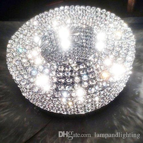 Modern Round Simple design 55cm Chrome crystal beaded ceiling light flush mount light fixture lustre cristal for living bedroom
