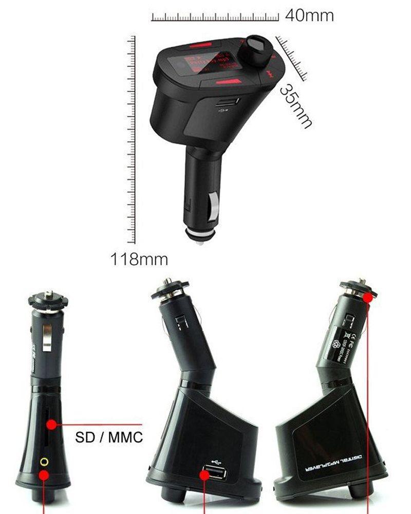 Araba LCD Kiti MP3 Stereo Çalar Kablosuz FM Verici Uzaktan USB Şarj Şarj Adaptörü WMA USB SD MMC Kart Yuvası