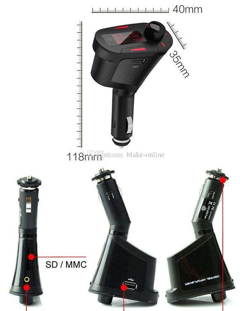 سيارة LCD كيت MP3 ستيريو لاعب اف ام الارسال اللاسلكي عن بعد USB فتحة شاحن محول WMA USB SD بطاقة MMC