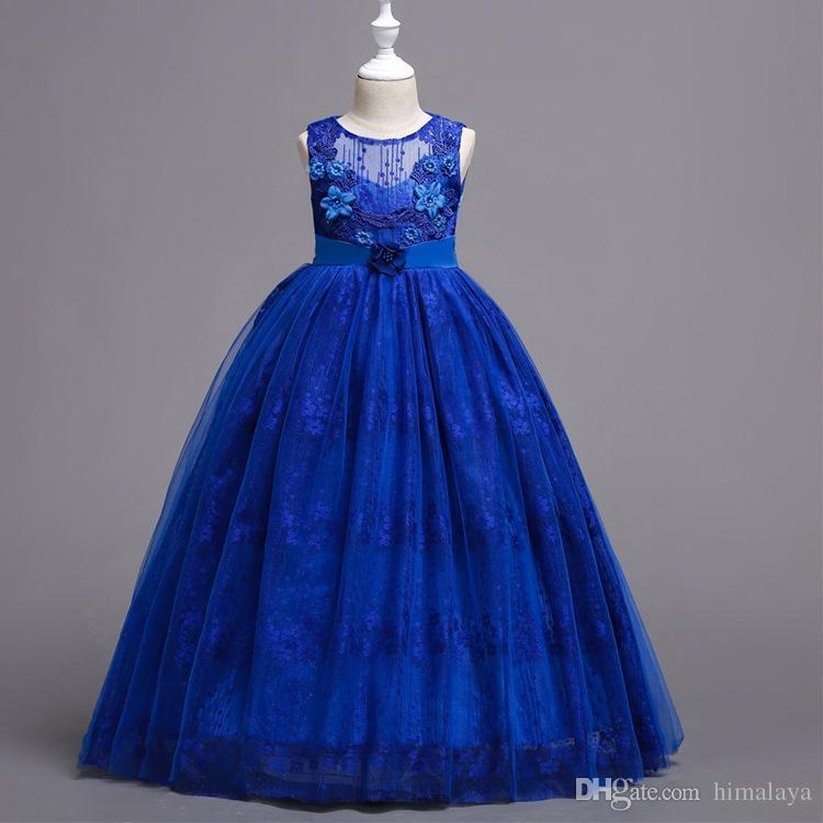 2018 crianças rendas princesa vestidos de festa de crianças do bebê roupas bordadas roupas criança vestido de baile vestido para 120-170 cm