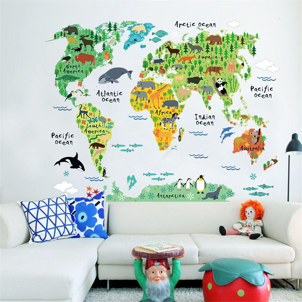 Kreative Neue Cartoon Tiere Weltkarte Wandtattoos Für Kinderzimmer Office  Home Decorations PVC Wandaufkleber Diy Wandbild Kunst Poster Grüne Karte