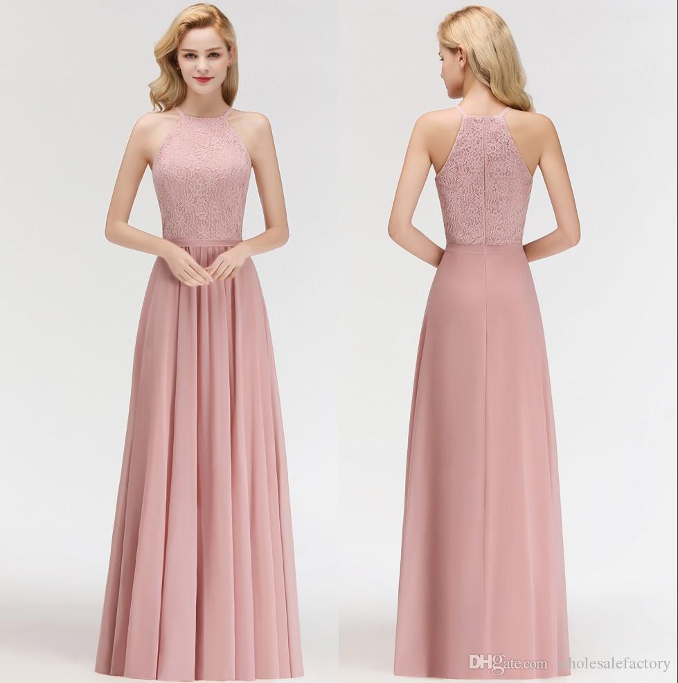 afdd318f293d 2019 Chiffon Long Bridesmaid Dresses Halter Lace Top Ruched Wedding Guest  Party Floor Length Maid Of Honor Dresses 100%Real Image BM0057 Unique  Dresses ...