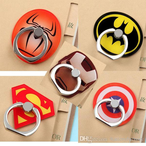 Universal 360 Degree Super Hero Superman Batman Finger Ring Holder Phone Stand For iPhone 7 6s Samsung Mobile Phones with Retail box
