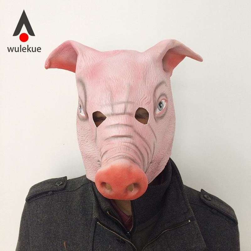 WULEKUE Halloween Horror Mask Full Face Cosplay Pig Head Scary Masquerade Terror High quality Party Helloween Accessories