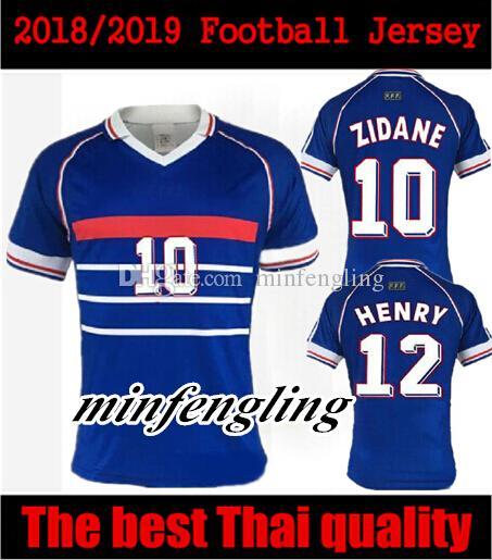 Compre 10 Grátis DHL! 1998 RETRO VINTAGE Camisas De Futebol ZIDANE HENRY  MAILLOT DE PÉ Tailândia Uniformes De Qualidade Camisas De Futebol Camisa De  ... f6a78d61b7bca