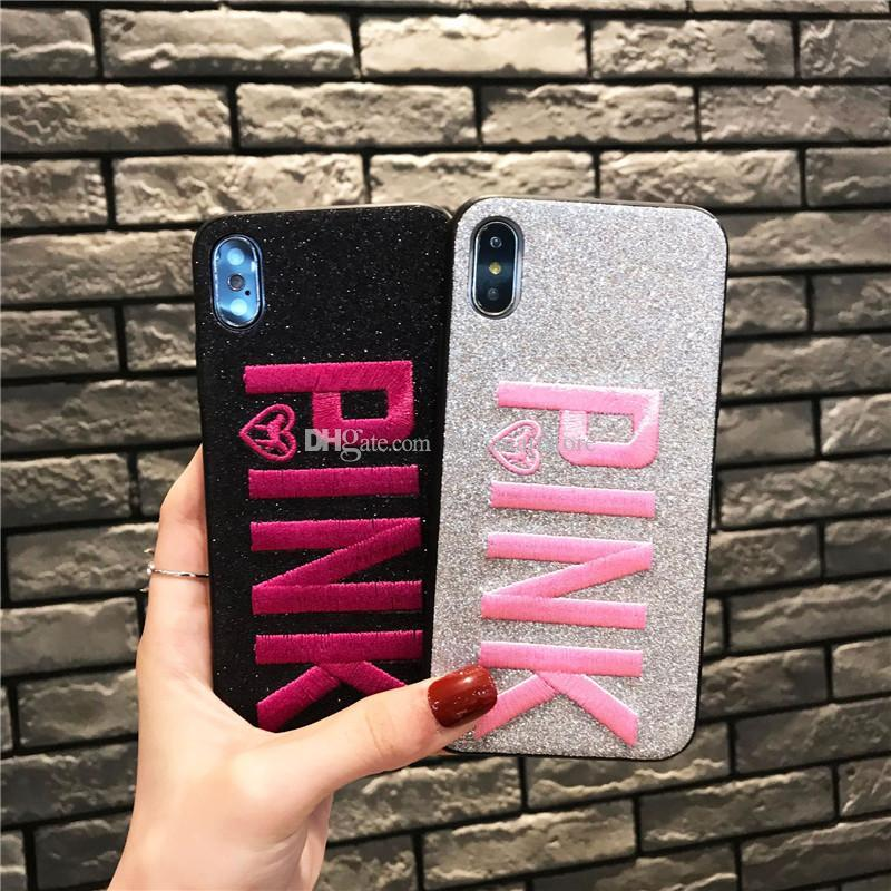 new arrival b9d05 6591c Brand Bling PINK Victoria Fashion Fabric Soft Case for iPhone 7 7Plus 6 6s  Plus 8 8Plus X S MAX XR Phone Back Cover Girl Secret Gift