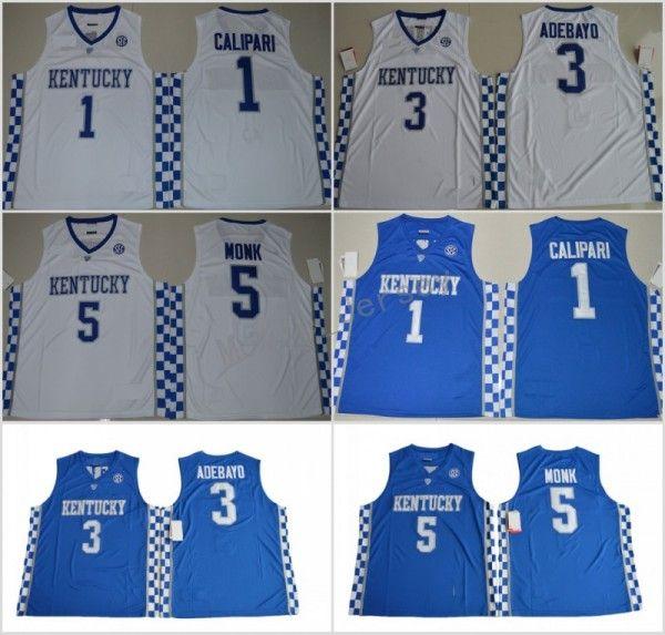 7eb771c405d 2019 2018 Kentucky Wildcats College Basketball Jerseys 5 Malik Monk 3  Edrice Adebayo 1 Coach John Calipari 0 De Aaron Fox University Jerseys From  ...