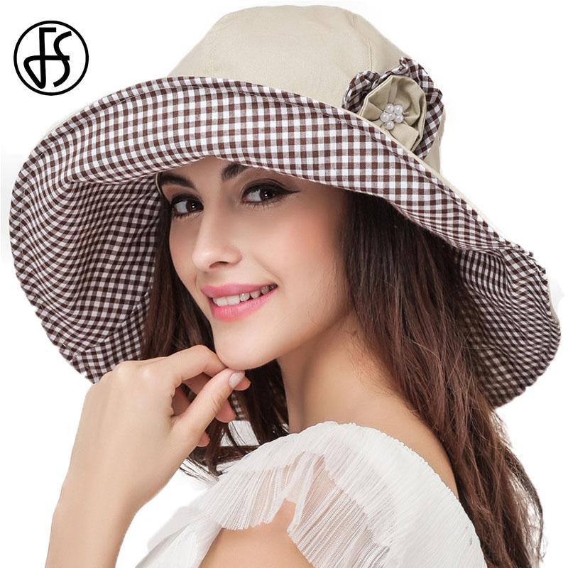 0be6a0aebdac5 FS Large Brim Foldable Summer Hats For Women Cotton Beach Sun Hat Black  Khaki Flower UV Protect Visor Caps Sonnenhut Summer Hat Straw Cowboy Hats  From ...