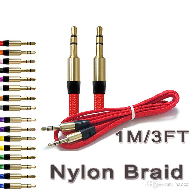 1M 3FT Nylon Braid AUX Cable 3.5mm Jack Male to Male Car Aux ...