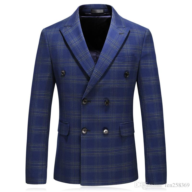 Top + pants + vest British lattice suit male handsome Slim men's college wind double breasted youth leisure suit three-piece