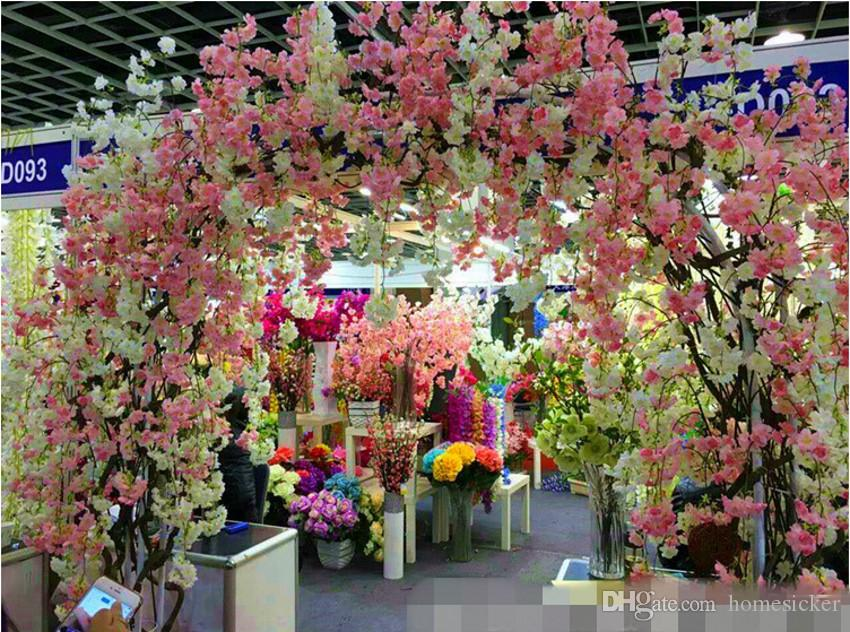 Faux Cerisier En Fleurs Branche Begonia Sakura Arbre Tige 138 cm Longue pour Événement Fête De Mariage Artificielle Fleurs Décoratives