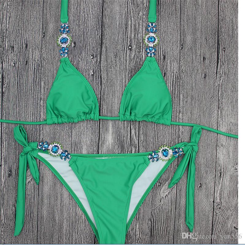 وضع ضمادة الرباط بيكيني مثير النساء 2018 جديد الصيف وضوح الشمس ملابس دفع ما يصل البرازيلي المايوه خمر Monokini ملابس السباحة ملابس السباحة