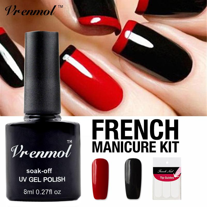 Vrenmol Nail Art Set Blackred Color Nail Gel Polish Soak Off Uv Gel
