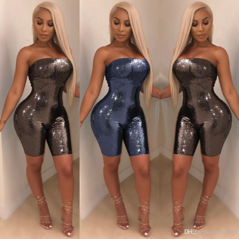 e5afe3760456 Shinning Sequins Women Sexy Night Out Short Skinny Jumpsuits Rompers ...