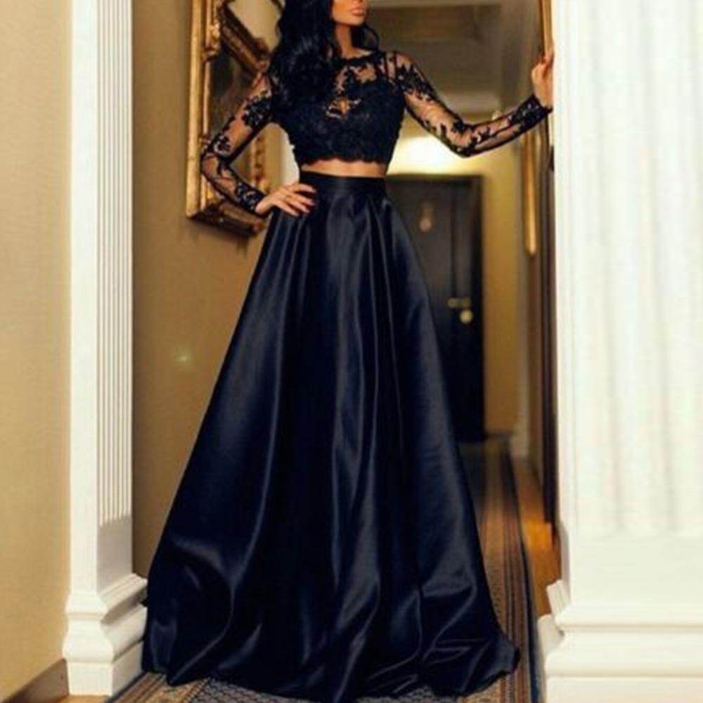 6eeb97e0cf Formal Wedding Bridesmaid Long Maxi skirt +short long sleeve round neck t  shirt top women set two piece set