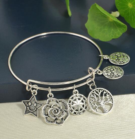 Brand Silver Adjustable Bracelets Bangle With Life Trees Star Charms Bracelet Cuff Wristband Jewelry For Women Fine Jewelry Christmas Gift
