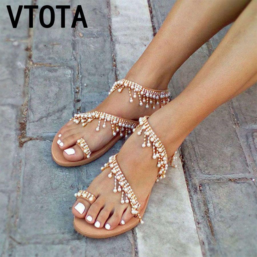 Acquista VTOTA Scarpe Di Lusso Donne Designer Sandali Piatti Sandali Donna  Zapatos De Mujer Donna Piatti Donna 2018 Summer K93 A  27.45 Dal Kaochange  ... 11495a208b3