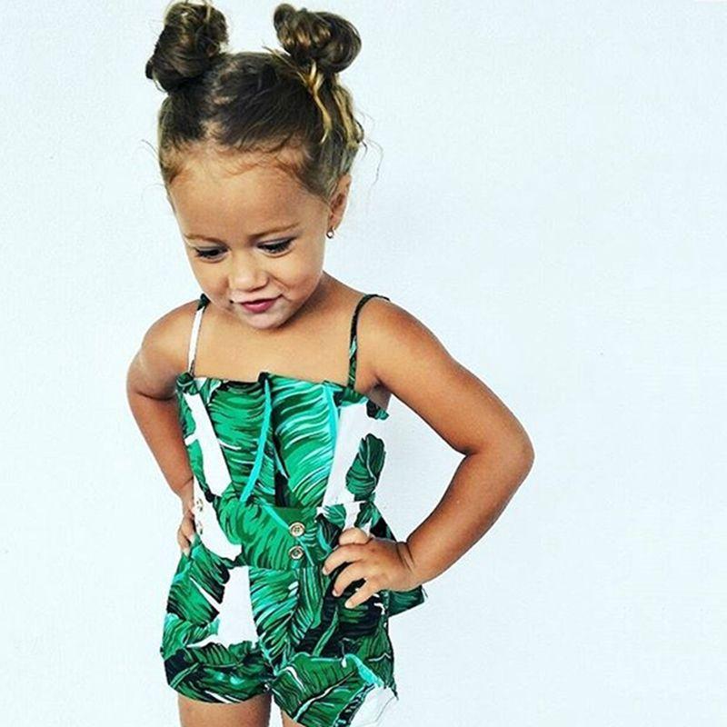 green leaf print sleeveless summer newborn infant baby girl kids romper jumpsuit spaghetti strap romper fashion