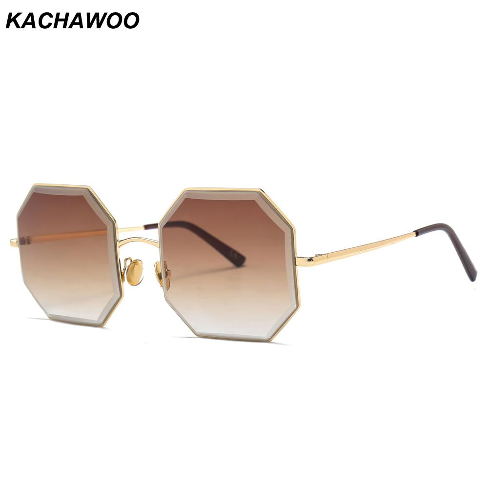 d3b790ecde6 Kachawoo Octagon Sunglasses Women Fashion Accessories Brown Gold Metal  Square Oversized Sun Glasses Female Vintage Running Sunglasses Sunglasses  Case From ...