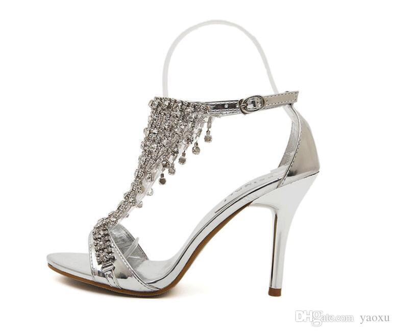7fa21a7f45c New Design Ladies Sexy Stilettos High Heels Women Shoes Pumps Faux  Rhinestone Wedding Party Sandals Silver Gold 1nx18 Silver Wedges Brown  Wedges From Yaoxu