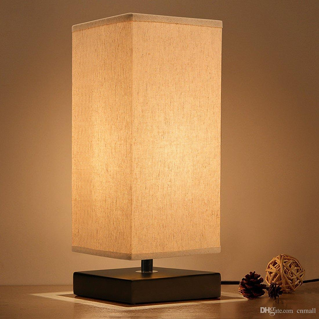 Bedside Table Lamp Minimalist Solid Wood Night Light Desk Simple Lamps Round Nightstand With Fabric Shade By