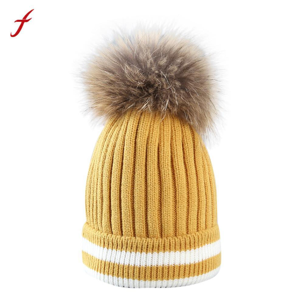 23dc87e5410 2018 Pompom Knitted Hat Head Woman Winter Solid Color Winter Hat Hair Ball  Stripe Knitted Women Beanies Cap Bonnet Feminino Knit Cap Slouch Beanie  From ...