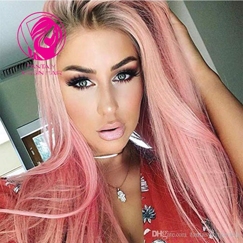 Fantasy 150% Ombre Pink Color Full Lace Human Hair Wigs Dark Roots Pre Plucked Remy Hair Silky Straight Wig For Fashion Women