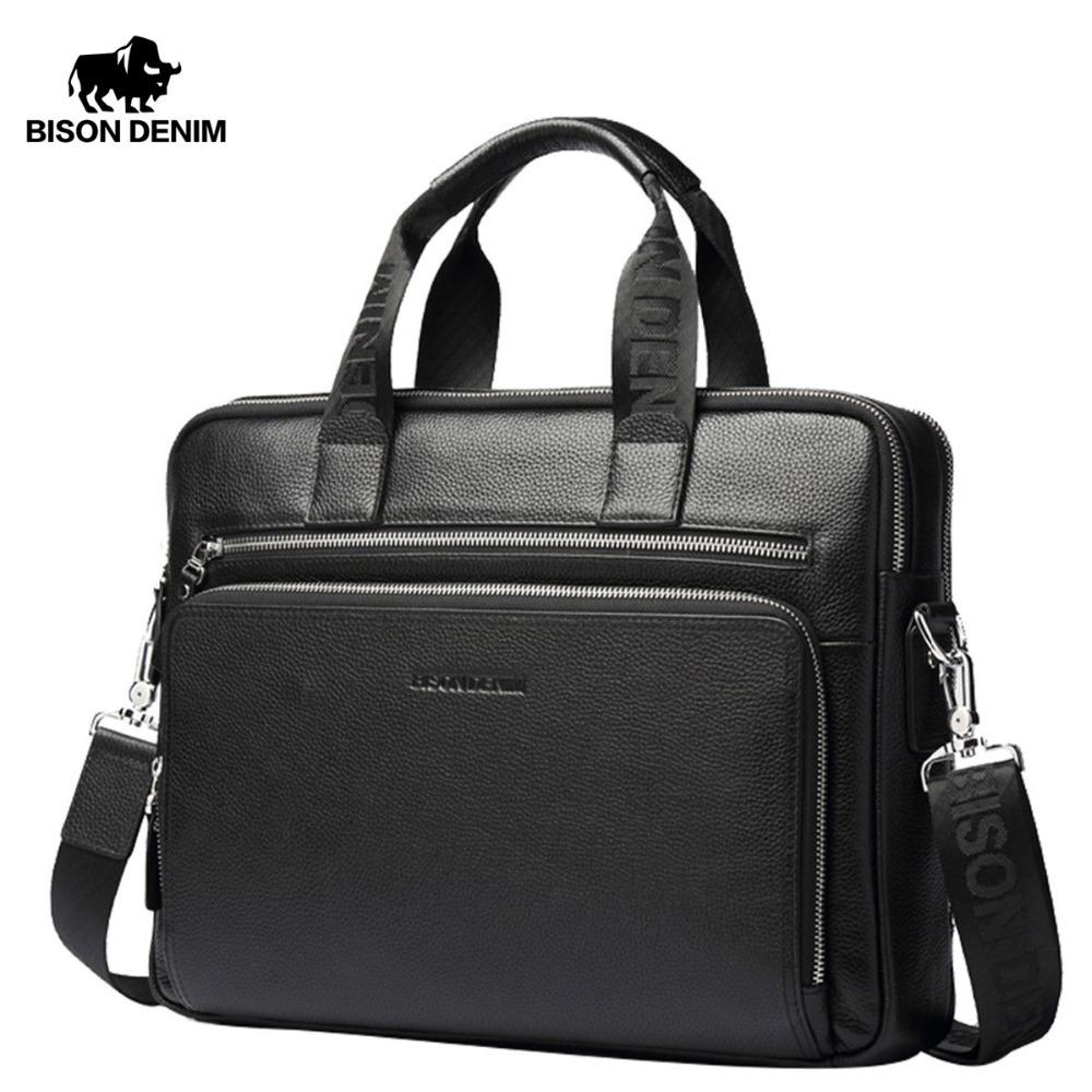 8acb073abfb BISON DENIM Genuine Leather Briefcases 14 Laptop Handbag Men s ...