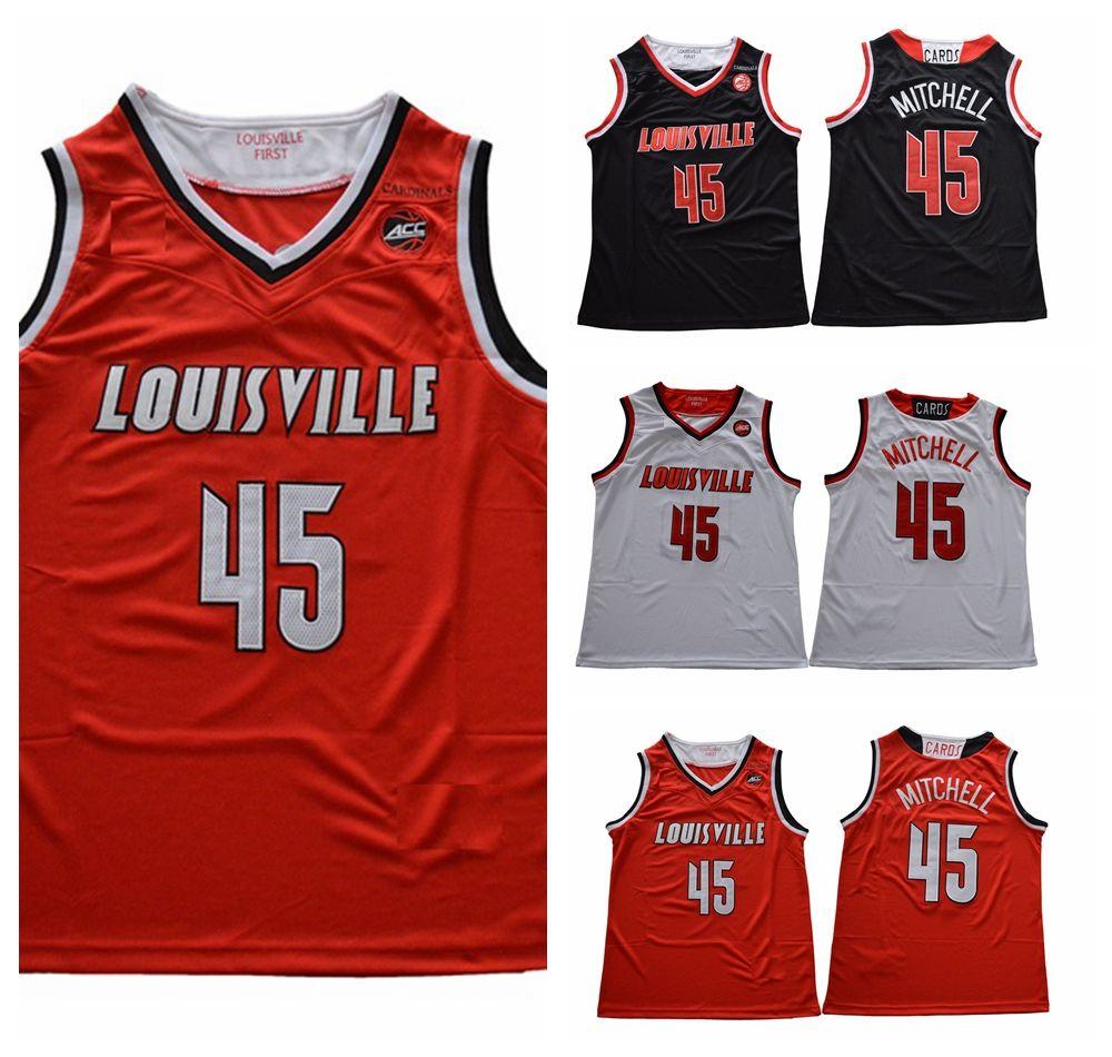 promo code 5c58b 94ae1 2018 Louisville Cardinals Donovan Mitchell College Basketball Jerseys #45  Mens Donovan Mitchell University Stitched Basketball Shirts S-XXL