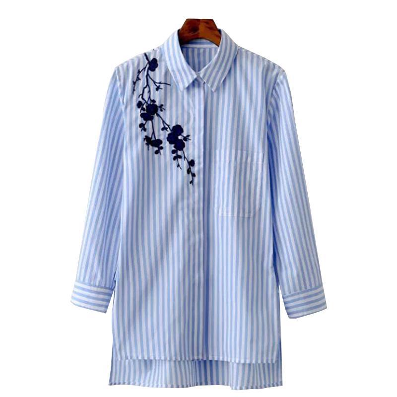 f00798b1d Blusa de las mujeres Camisa de Bordado Blusas Femeninas Camisas Casual  Rayas Primavera 2017 Otoño Vintage Tops Ropa de Mujer Blusas