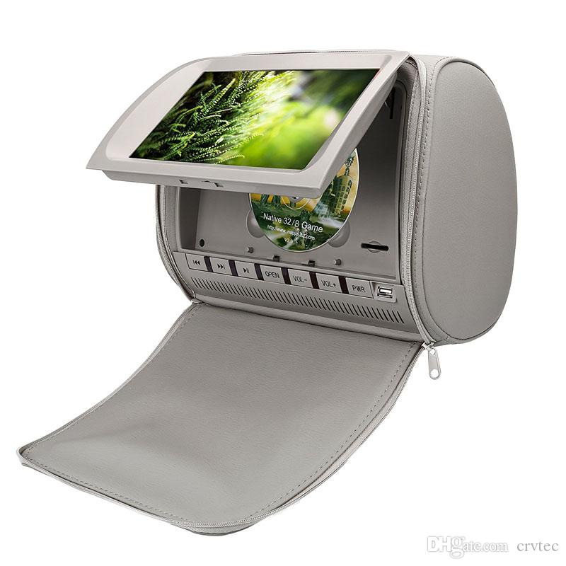Single 9 inch headrest car dvd player with pillow zipper cover USB SD FM IR transmitter game grey for back seat mount