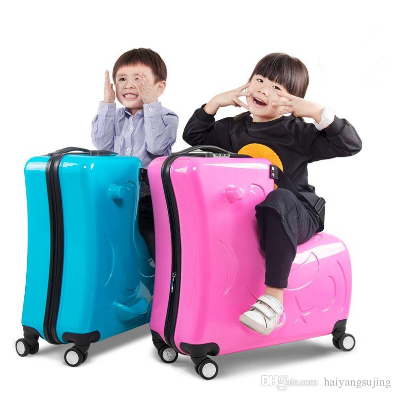 0b016dd9f635 20/24 inch ride children s trolley bag can sit universal wheel Trojan  suitcase men women boarding luggage cartoon travel bags