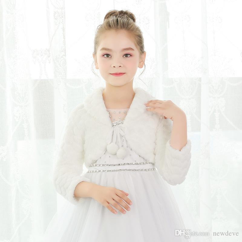 25fdb2a994d 2019 Cony Hair Ivory Flower Girl Dress Accessories Warm Long Sleeves Girls  Capes And Jackets From Newdeve