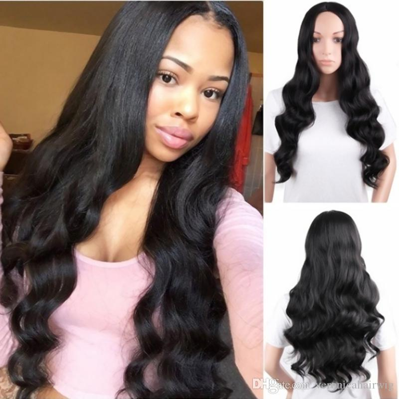 Free Shipping Women's Fashion Long Natural Black Wigs 180% Density Long Wavy Hair Wigs Middle Parting Cosplay Party Wigs for Black Women