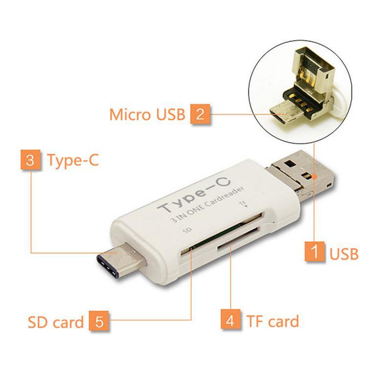 Universal 3 en 1 OTG Tipo-C Lector de tarjetas USB 3.0 USB Un combo micro USB a 2 Slot TF SD para PC con teléfono inteligente