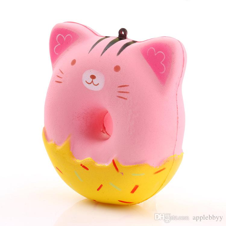 Squishy Cat Head Burger Donut Simulation Cat Face Expression Burger vent relieve pressure slow rebound PU toys DHL