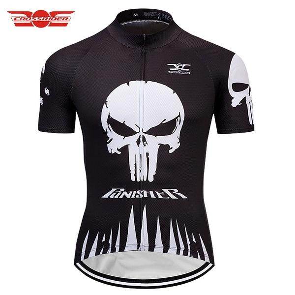 cb77a5e6d Crossrider 2018 PUNISHER SKULL Cycling Jerseys Mtb Bicycle Clothing Shirt  Bike Wear Clothes Short Maillot Roupa Ropa De Ciclismo Funky T Shirt Designs  T ...