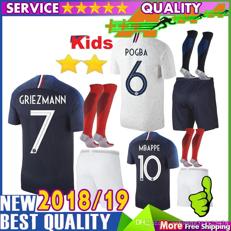 size 40 0f1b8 e9270 2 stars Kids kits 2018 POGBA soccer jersey KANTE Mbappe Football Jerseys  shirts 18 19 GRIEZMANN child youth home away maillots de foot