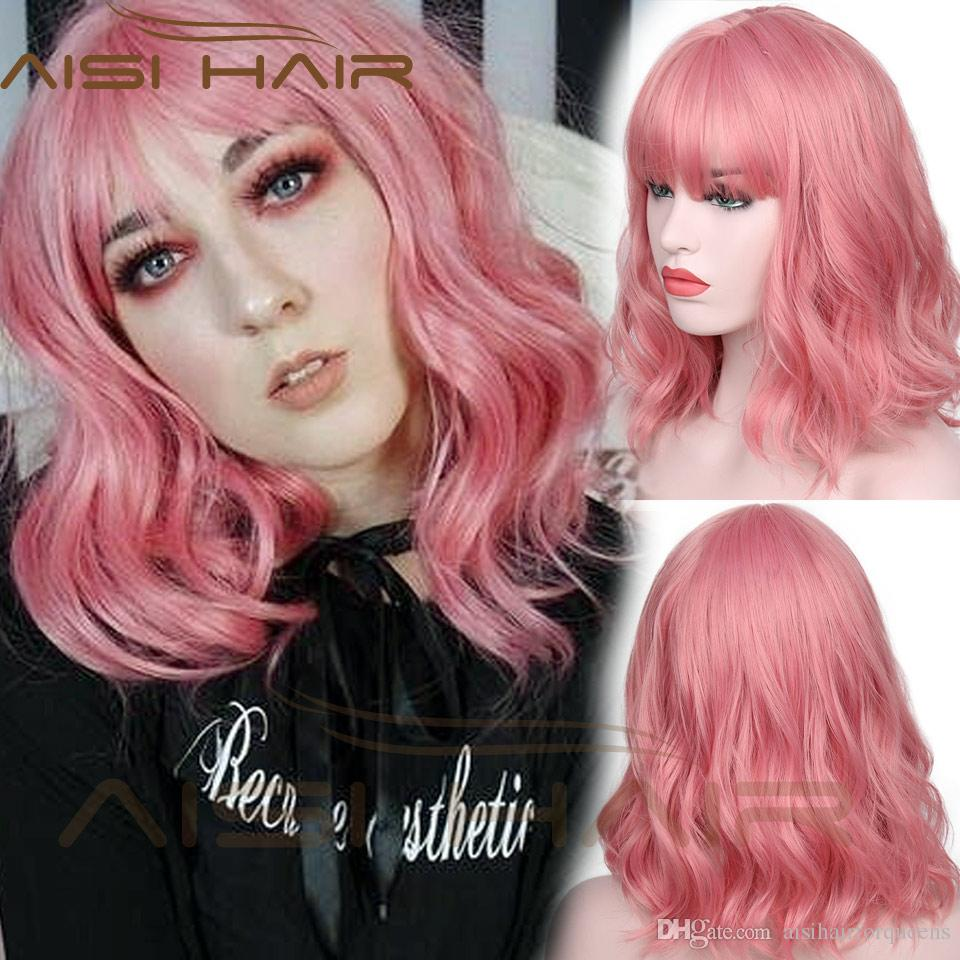 AISI HAIR Short Pink Wig Wavy Synthetic Hair Wigs With Air Bangs Heat  Resisit Curly Wig For Women Synthetic Lace Wig With Bangs Brown Wigs From  ... 409230016cdb