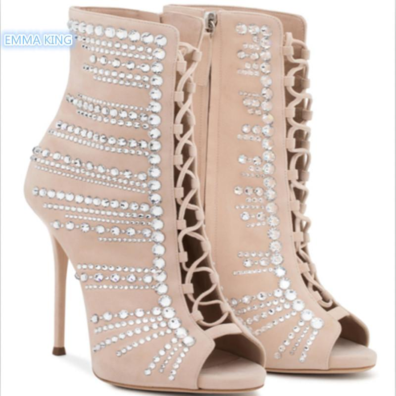 f4251fa9612b EMMA KING Suede Crystal High Heels Women S Ankle Boots Stilettos Peep Toe  Botines Mujer Shoes Women Lace Up Zipper Ladies Shoes Cheap Football Boots  Army ...