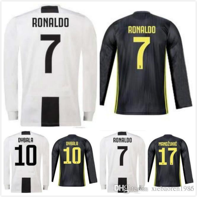 5fe21bc22 ... promo code for 2018 juventus long sleeve juve home soccer jersey 18 19  7 ronaldo 10